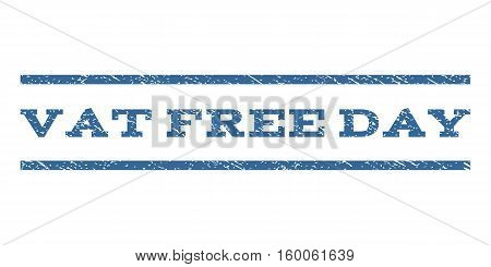 Vat Free Day watermark stamp. Text caption between horizontal parallel lines with grunge design style. Rubber seal cobalt blue stamp with dirty texture. Vector ink imprint on a white background.
