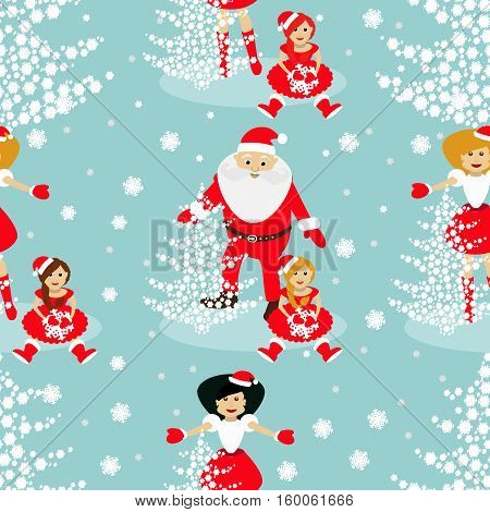 used for printing websites design  interior fabrics etc. Christmas theme. tree from snowflakes on a blue background with Sata Claus and baby Elf and Mrs. Santa Claus arms