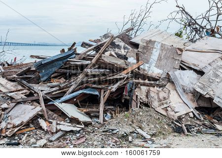 Junk site indicating disaster like tsunami, earthquake,tornado or typhoon