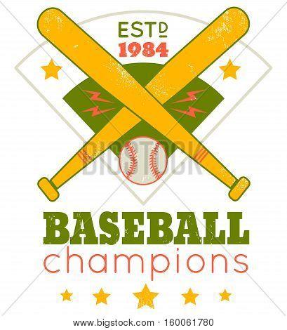 Vector vintage logo for baseball. Emblem for baseball.