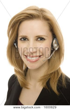 Businesswoman Uses Headset