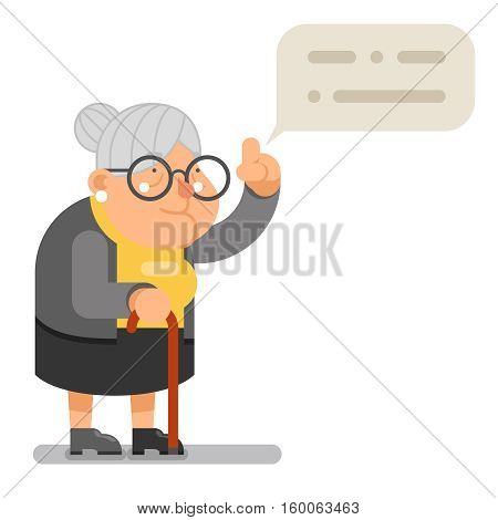 Wise Teacher Guidance Granny Old Lady Character Cartoon Flat Vector illustration