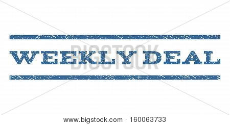Weekly Deal watermark stamp. Text tag between horizontal parallel lines with grunge design style. Rubber seal cobalt blue stamp with dust texture. Vector ink imprint on a white background.