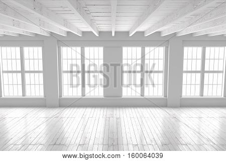 Light empty hall with large windows and wooden deck. Loft open space mockup. Studio or office blank space. 3D rendering