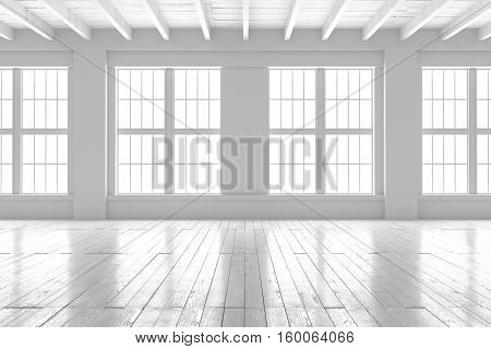 Light empty hall with large windows and parquet floors. Loft open space mockup. Studio or office blank space. 3D rendering