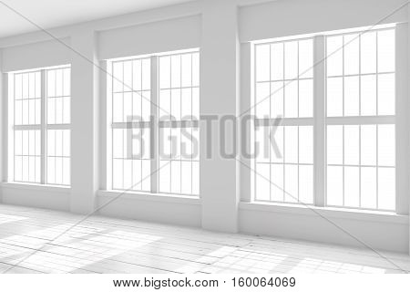 Light empty hall with large windows and parquet floors. Studio or office blank space. 3D rendering