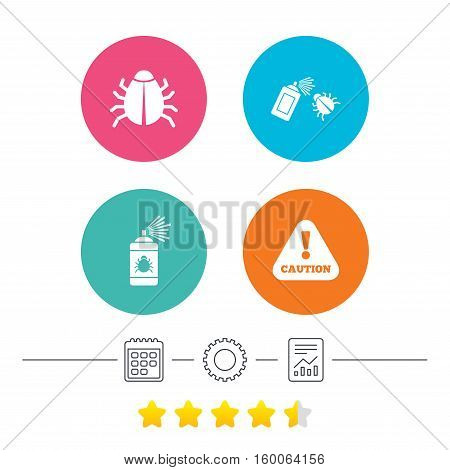 Bug disinfection icons. Caution attention symbol. Insect fumigation spray sign. Calendar, cogwheel and report linear icons. Star vote ranking. Vector poster