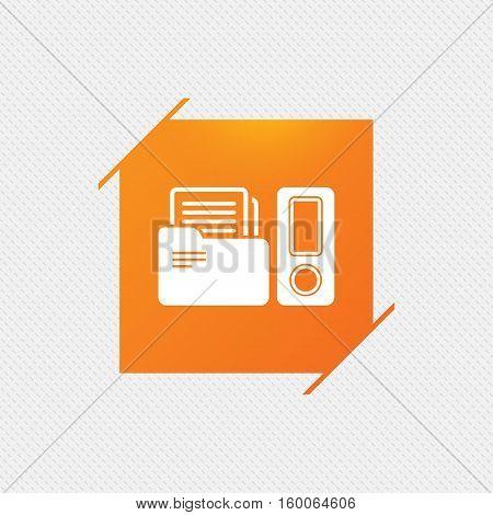 Document folder sign. Accounting binder symbol. Bookkeeping management. Orange square label on pattern. Vector