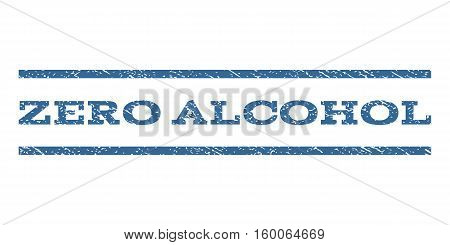Zero Alcohol watermark stamp. Text tag between horizontal parallel lines with grunge design style. Rubber seal cobalt blue stamp with scratched texture. Vector ink imprint on a white background.