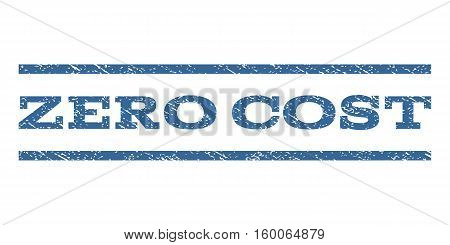Zero Cost watermark stamp. Text caption between horizontal parallel lines with grunge design style. Rubber seal cobalt blue stamp with dust texture. Vector ink imprint on a white background.