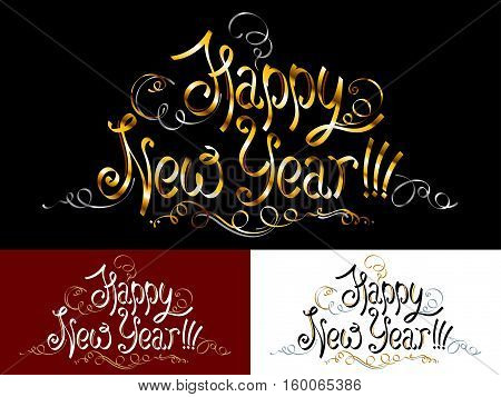 Happy New Year; Inscription with a congratulation; Handwritten letters; Hand-drawing of words in the ink style; Lettering in old vintage design with ornate vignettes monograms and decorations; Golden spiral ribbons; Vector set of greeting phrases Eps10