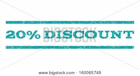 20 Percent Discount watermark stamp. Text caption between horizontal parallel lines with grunge design style. Rubber seal cyan stamp with scratched texture. Vector ink imprint on a white background.