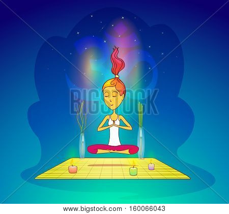 Girl or woman meditating in yoga pose. Fitness or pilates woman in lotus pose, girl exercising or training. For zen position and fitness club banner, relaxed woman or fit girl, meditation pose theme