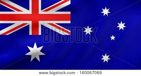 Flag Of Australia Waving, Real Fabric Texture