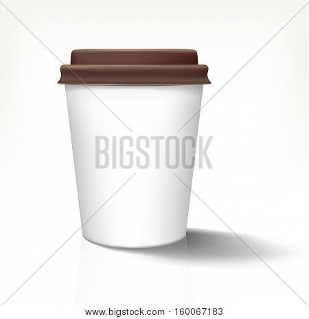 White realistic paper cup in front view with brown cover. Vector illustration. Fully editable handmade mesh. Disposable paper cup used for advertising different drinks.