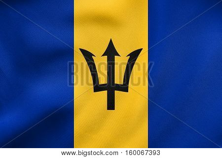 Flag Of Barbados Waving, Real Fabric Texture