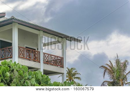 Low angle shot of elegant houses at top of hill in Tibau do Sul a watering place located in Brazil
