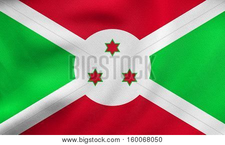 Flag Of Burundi Waving, Real Fabric Texture