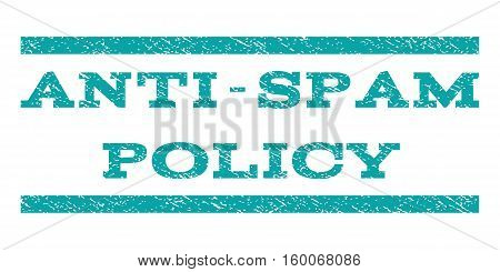 Anti-Spam Policy watermark stamp. Text tag between horizontal parallel lines with grunge design style. Rubber seal cyan stamp with dirty texture. Vector ink imprint on a white background.