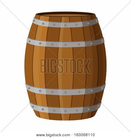 Wooden barrel with alcohol drinks rum brandy tequila liquor beer wine whiskey Flat style
