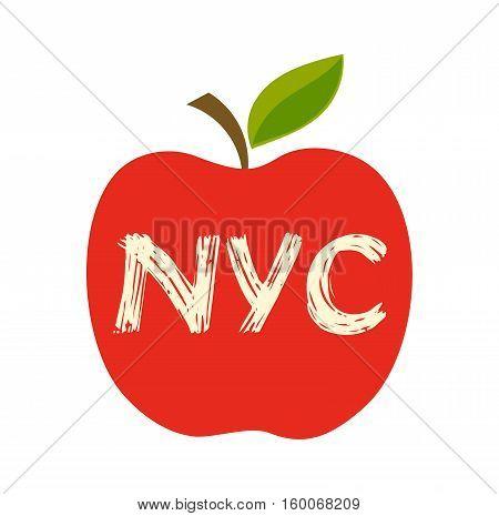 Big apple the New York City symbol illustration