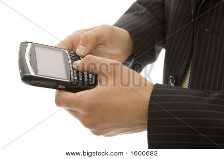 Businessman Texts On Phone