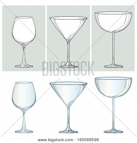 Vector set with contour glasses for wine, champagne and martini in black and color isolated on white background. Outline glass for wine and winery in line style for restaurant decor or coloring book.