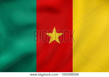 Flag Of Cameroon Waving, Real Fabric Texture