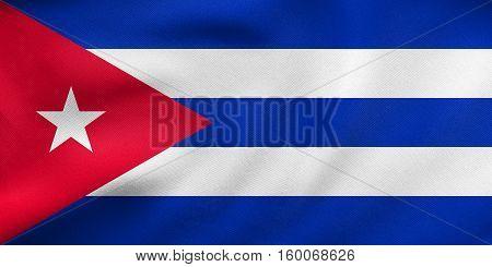 Flag Of Cuba Waving, Real Fabric Texture