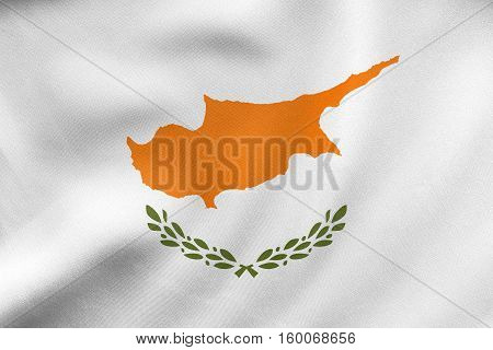 Flag Of Cyprus Waving, Real Fabric Texture