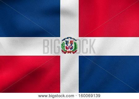 Dominican Republic Flag Waving Real Fabric Texture