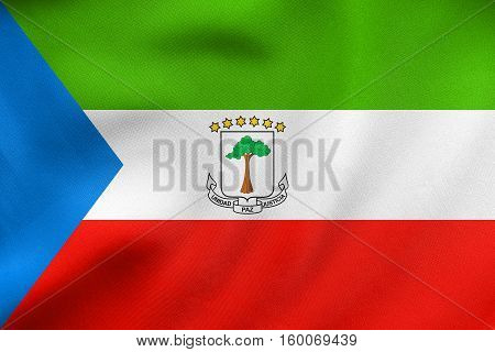 Flag Of Equatorial Guinea Wavy Real Fabric Texture