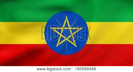 Flag Of Ethiopia Waving, Real Fabric Texture