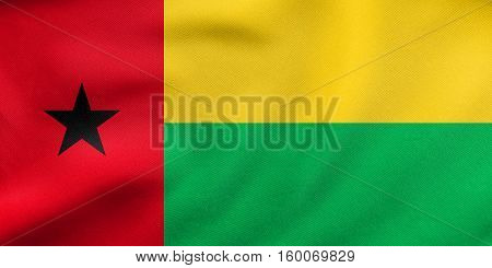 Flag Of Guinea-bissau Waving, Real Fabric Texture