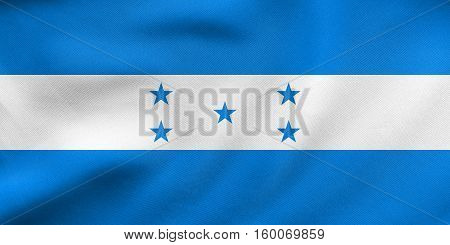 Flag Of Honduras Waving, Real Fabric Texture