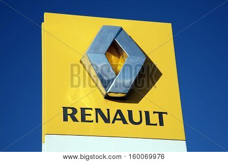 Kidwelly, Wales, UK, November 20, 2016 : A  Renault sign at their car showroom showing its company logo