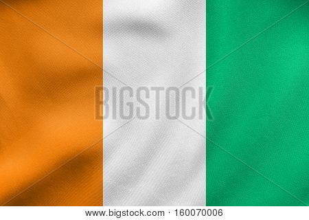 Flag Of Ivory Coast Waving, Real Fabric Texture