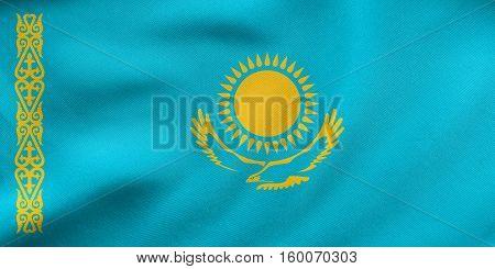Flag Of Kazakhstan Waving, Real Fabric Texture