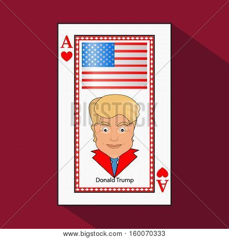 Donald Trump an icon a vector illustration an ace the playing card a victory to win the combination heart. American flag. on a green background