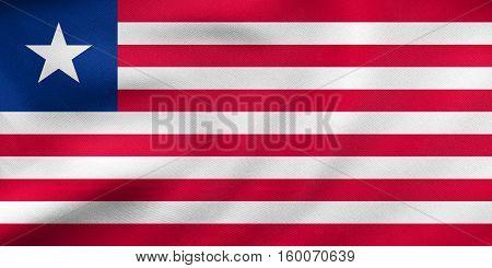 Flag Of Liberia Waving, Real Fabric Texture