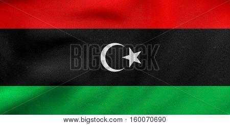 Flag Of Libya Waving, Real Fabric Texture