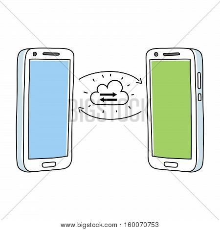 Two smartphones sharing files in the cloud, vector on white background