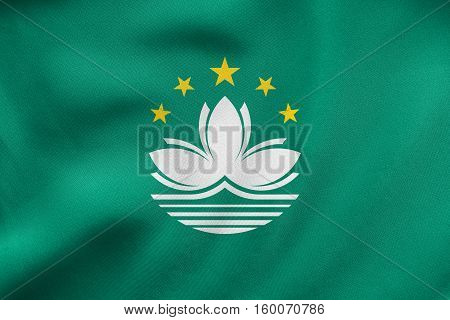 Flag Of Macau Waving, Real Fabric Texture