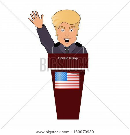 donald trump the president a smile a hand up behind an interview tribune in the microphone. Elections of 2016. Fight success victory. Vector illustration. Against the background of white it is easy to separate a background