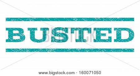 Busted watermark stamp. Text caption between horizontal parallel lines with grunge design style. Rubber seal cyan stamp with dirty texture. Vector ink imprint on a white background.