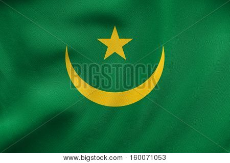 Flag Of Mauritania Waving, Real Fabric Texture