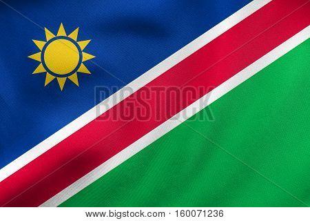 Flag Of Namibia Waving, Real Fabric Texture