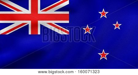 Flag Of New Zealand Waving, Real Fabric Texture