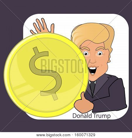 Donald Trump's smile. Dollar oligarch. Vector illustration eps 10. It is easy to separate a background white. Dollar in hands.