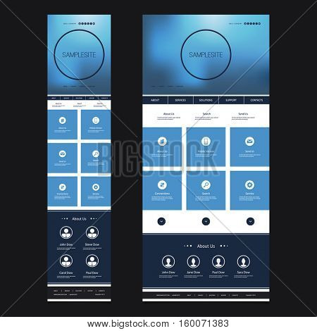 Responsive One Page Website Template with Blurred Background - Desktop and Mobile Version